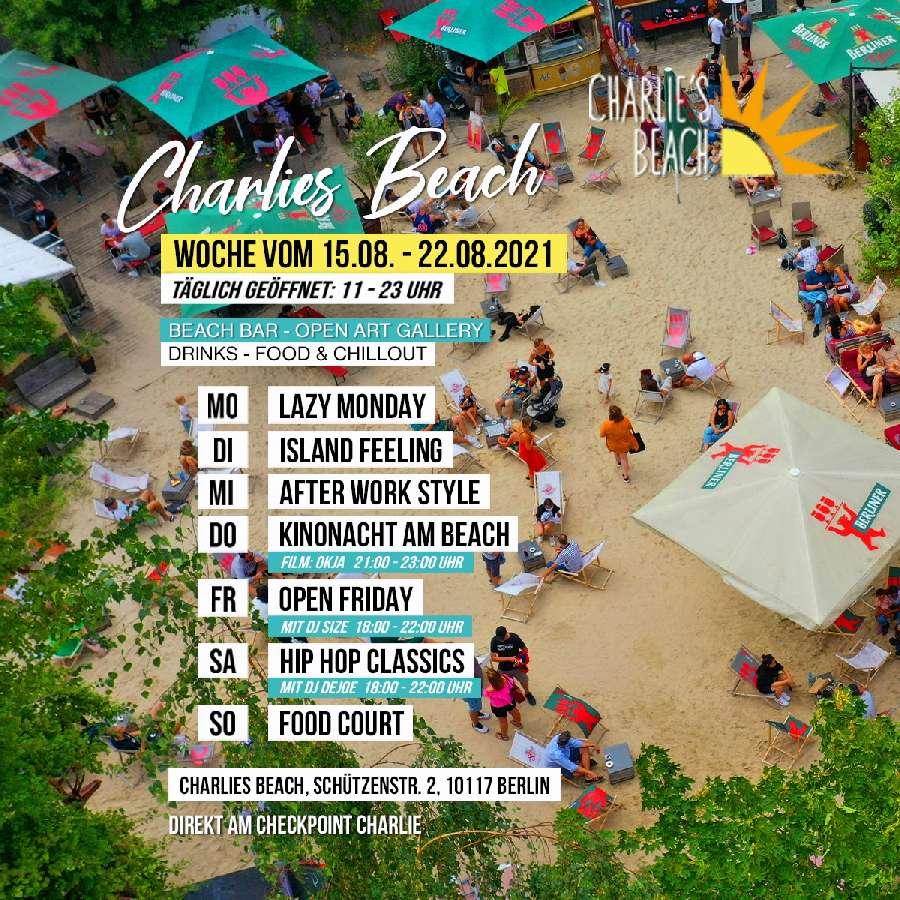 Charlies Beach Eventprogroamm vom 09.-15.08.2021